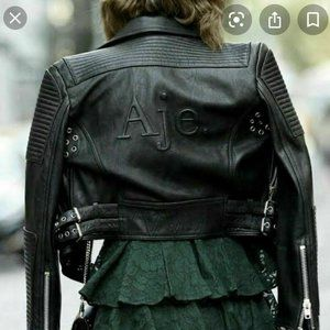 Aje 'Bowie' Black Leather Women's Jacket Black Size 8 Fully Lined Excl Condition